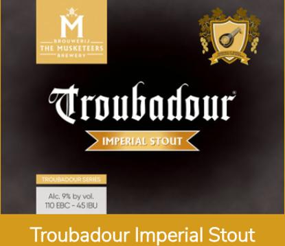 Picture of Troubadour 6x33cl Imperial stout 9% + Glas